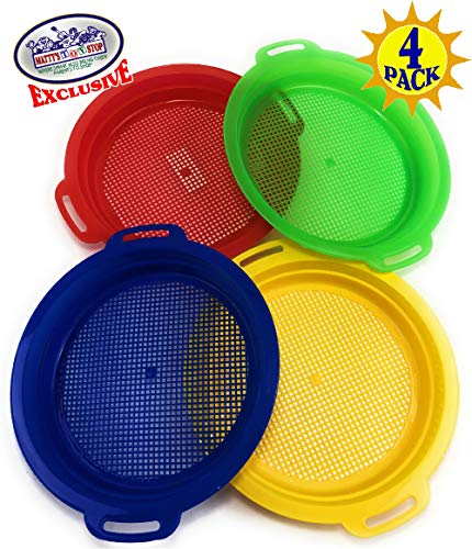 Matty's Toy Stop Sand Sifter Sieves for Sand & Beach (Red, Blue, Yellow & Green) Complete Gift Set Bundle - 4 Pack (8.75'' x -