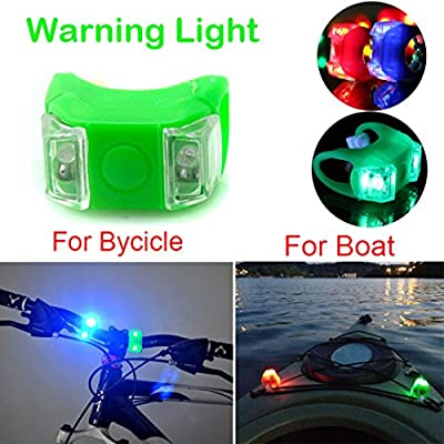 Botepon 2Pcs 2017 New Bicycle Boat Warning Light Signal Light Waterproof with 3 Modes for Riding Sailing Runing Climbing WaterproofGreen