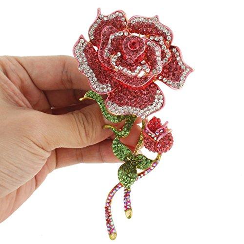 EVER FAITH Women's Austrian Crystal 5 Inch Romantic Rose Flower Bud Leaf Brooch