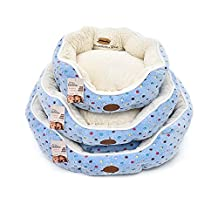 "Elite Polka Dot Round Pet Bed with Fleece Fabric Removable Cover for Dogs and Cats (Diameter 18"", Blue)"