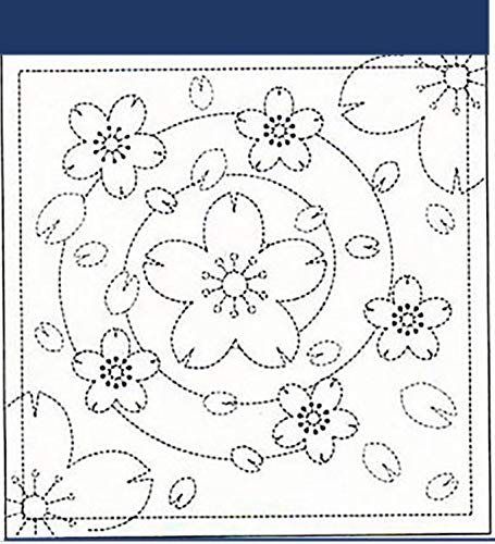 Sashiko Fabric - Sashiko Pre-Printed Sampler - # 236 Floating Sakura Blossoms - Navy ()