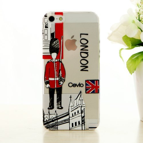 (New (Laser Color Carving) Case for Iphone 5, Protective Skins, Carrying Cases, Ultra Thin and Strong Case+ Protective Film (London Soldiers))