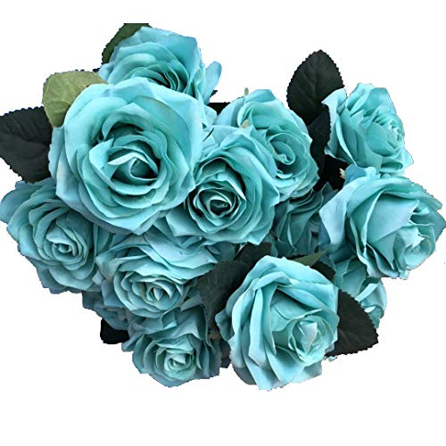 DALAMODA Aqua Color Silk Roses Flower 2 Bundles (with Total 20 Heads) Artificial Silk Flower Rose Bush for Any Craft orWedding Prom Arrangement Home Decoration (Aqua Color)