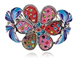 Alilang Multicolor Blue Enamel Floral Big Flower Twin Butterfly Insect Bangle Cuff Bracelet