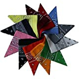 Colourful 12 Pack of Paisley Patterned Bandanas Neck Scarfs, Head Scarfs