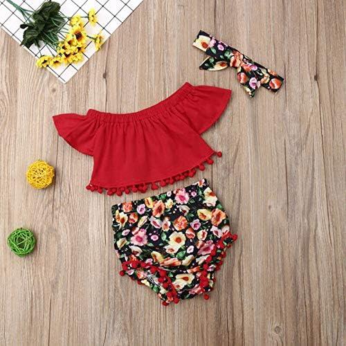 LIXIUQING Süße Schönheit Kind Mädchen Blume Fliegende Ärmel Hemd Hosen Shorts 3 Sommerkleidung