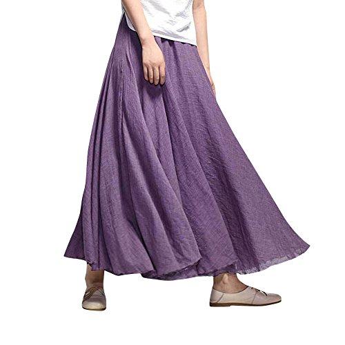85 Tour Boheme Mariage en MISSMAO CM de amp;Lin Violet Plage Dress Taille Femme Coton Jupe Casual Elastique wqCCZg