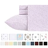 Width of Cal King Bed 400-Thread-Count 100% Pure Cotton Sheets - 4 Piece Sunrise Lavender Cal King Sheet Set Long-Staple Combed Cotton Bed Sheets Hotel Quality Fits Mattress Upto 18'' Deep Pocket Soft Sateen Weave