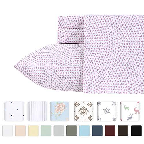 unt 100% Pure Natural Cotton Sheet Sets - 4-Piece Sunrise Lavender Full Size Sheet Set Long-Staple Premium Cotton Yarns Hotel Quality Fits Mattress Upto 18'' Deep Pocket ()