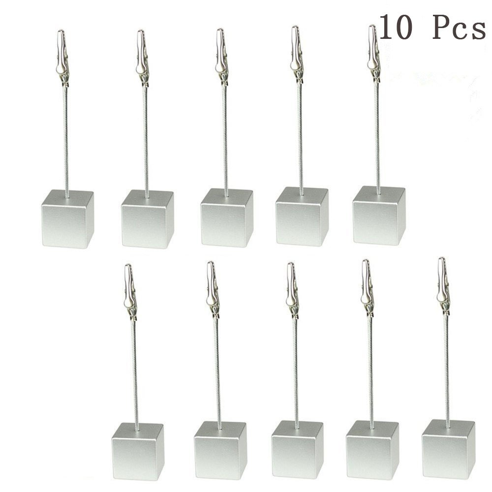 Yootop 10 Pcs Table Number Card Holders Stands Photo Memo Clips with Alligator Clasp(Silver)