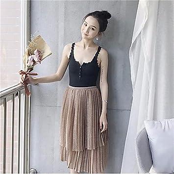 DRESS ZLL Mujer Tiro Alto Midi Faldas,Línea A Un Color, One-Size ...