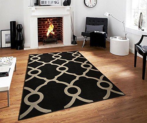Large Moroccan Trellis Modern Rug For Living Room Black Gray