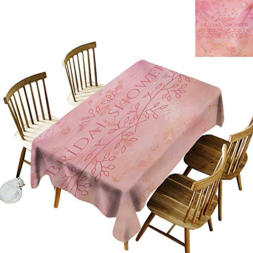 Grid Rectangle Tablecloth W52 x L70 Bridal Shower Bride Invitation Grunge Abstract Backdrop Floral Design Print Pale Pink and Salmon Suitable for Traveling Outdoors Family Restaurant Coffee Shop Mor
