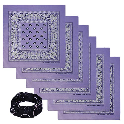 Basico Bandanas Value Pack 100% Cotton Paisley Head Wrap with Tube Face Mask/Headband (6pk- -