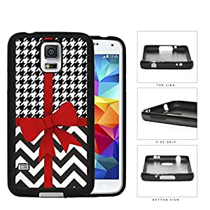 Red Ribbon With Houndstooth And Chevron Pattern Rubber Silicone TPU Cell Phone Case Samsung Galaxy S5 SM-G900