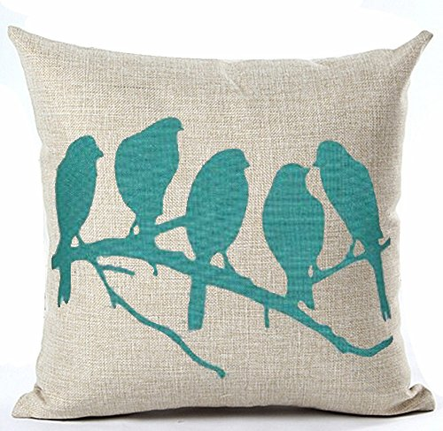 Turquoise Birds in Tree Branch Beige Ground Cotton Linen Throw Pillow Case Cushion Cover Home Office Decorative, Square 18 X 18 Inches (For Living Room, Sofa,car) (Turquoise Birds) (Turquoise Throw Pillow Covers)