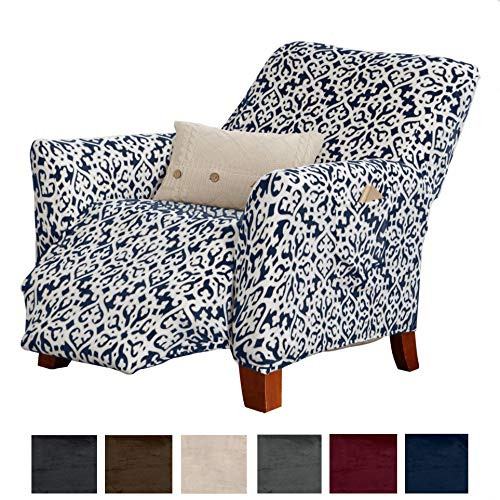 Great Bay Home Modern Velvet Plush Strapless Slipcover. Form Fit Stretch, Stylish Furniture Cover/Protector. Gale Collection Brand. (Recliner, Snowflake - Dark Denim Blue)