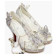 Monie Women's Cinderella Bridal Bridesmaid Shoes Wedding Dress Peep Toe Pump