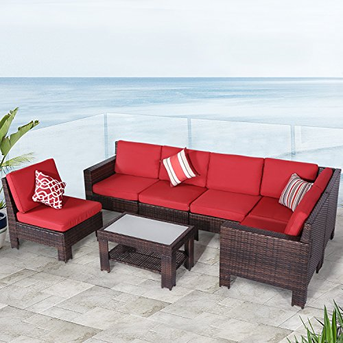Diensday Outdoor Furniture 7-Piece Sectional Sofa Set All Weather Brown Wicker Deep Seating with Red Waterproof Olefin Cushions & Sophisticated Glass Coffee Table | Patio, Backyard, Pool, (Resin Wicker Porch Furniture)