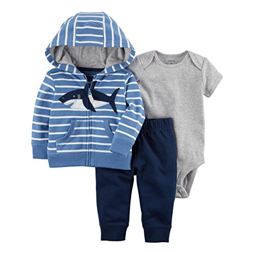 3-Pc. Little Jacket Shark Set 18 Months (Blue Embroidered Hoodie Pant)