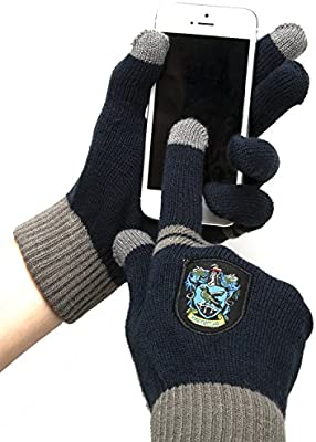 Cinereplicas - Harry Potter - Guantes de Pantalla táctil - Licencia Oficial - Casa Ravenclaw - Talla Única - Azul y Gris