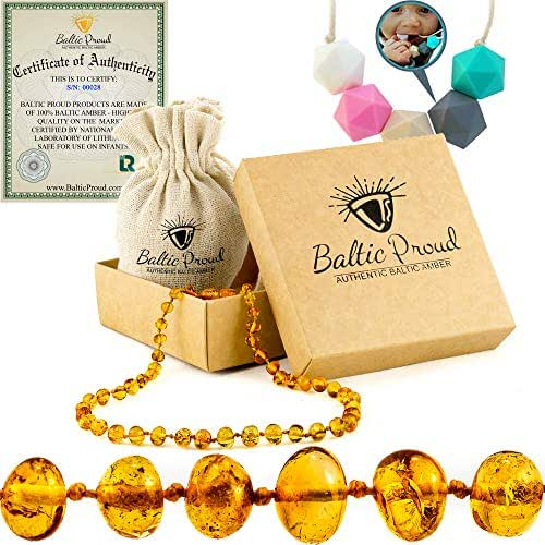 Amber Teething Necklace For Babies Gift Set (Unisex)(Honey) +FREE Silicone Teething Necklace - Anti Inflammatory, Natural Drooling & Teething Pain Relief, Highest Quality, Certified Baltic Amber