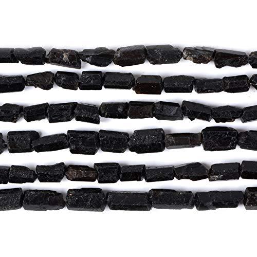 Natural Black Tourmaline Facet Nugget Chips Loose Gemstone Beads Strand 16
