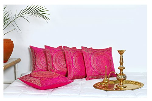 HANDICRAFT-PALACE Silk Brocade Square Cushion Cover Indian