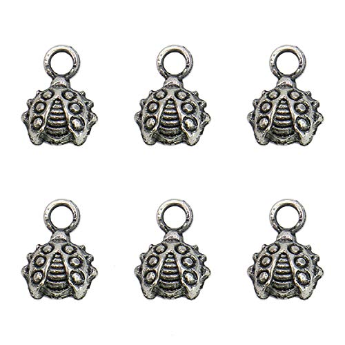 (Monrocco 200 Pcs Antique Silver Ladybug Charms Pendant Insect Animal Charms for Bracelets Jewelry Making)