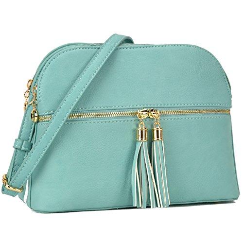 Lightweight Multi Zipper Designer Women Crossbody Bags Travel Shoulder Messenger Purse Medium Size Shoulder Bags for All Seasons (MKP-JC-LP050-TQ (Mint Green))