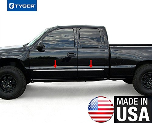 Made in USA! Works with 1999-2006 Chevy Silverado 4Dr Extended Cab Rocker Panel Chrome Stainless Steel Body Side Moulding Molding Trim Cover 1.5
