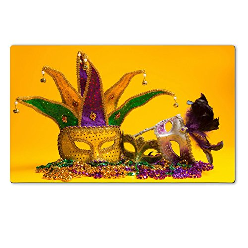 [Luxlady Natural Rubber Large TableMat IMAGE ID: 26091096 A festive colorful group of mardi gras or carnivale mask on a yellow Venetian] (Mardi Gras Masks Template)