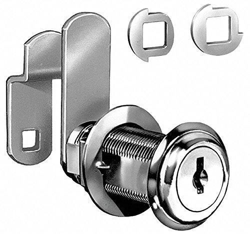Alike-Keyed Standard Keyed Cam Lock Key # C390A, For Door Thickness (In.): 1-7/16, Bright Nickel
