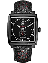 Monaco Automatic Black Dial Black Leather Mens Watch WW2119FC6338