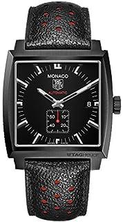 Tag Heuer Monaco Automatic Black Dial Black Leather Mens Watch WW2119FC6338