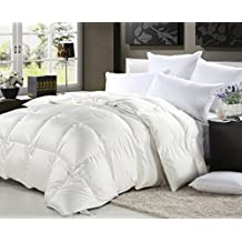 LUXURIOUS 1500 Thread Count California King Size GOOSE DOWN Comforter 750FP, 50 oz Fill Weight, White Solid 1500 TC 100% Egyptian Cotton