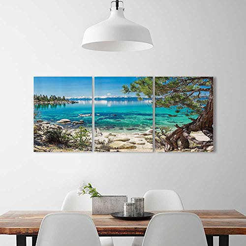 Frameless Lake Tahoe Snowy Mountain Reflecti Clearwater Rocky Shore Romantic for the kitchen, dining room, living room, bar and so on W12