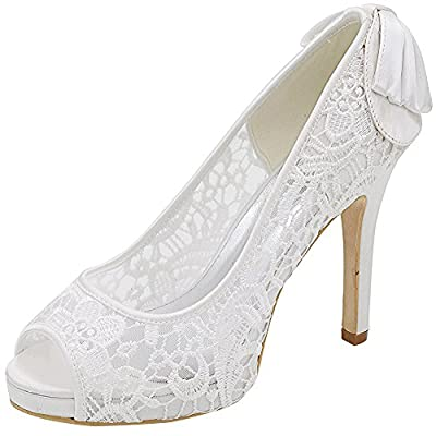 LOSLANDIFEN Women's Peep Toe Lace Flower Pumps Stiletto High Heels Wedding Sandals Shoes