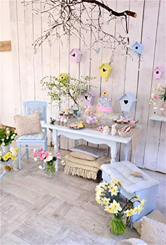 Egg Birdhouse - CSFOTO 4x6ft Background Easter Eggs Birdhouse On Wood Wall Photography Backdrop Spring Flowers Cute Bunny on Table Tradition Family Celebration Child Newborn Photo Studio Props Polyester Wallpaper