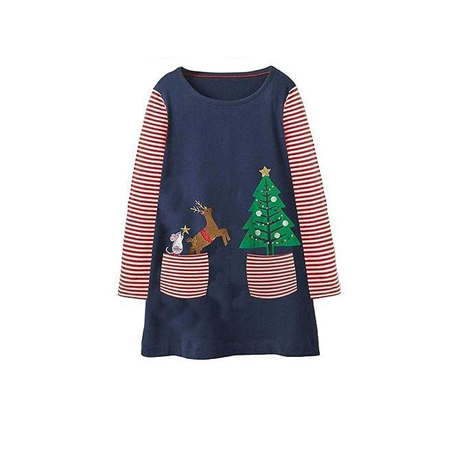 19d82e63a82858 Goosuny Mädchen Langarm Kleid Weihnachtskleid Baby Kleidung Abendmode  Outfits Lose Cartoon Lange Ärmel Minikleid Weihnachten Long