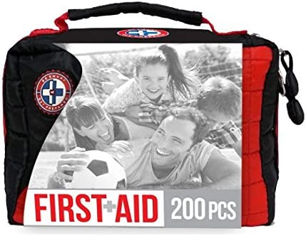 Black and red first aid with picture of smiling family