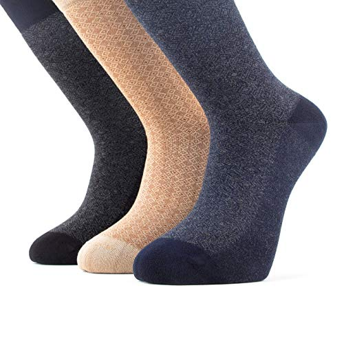 Bambooven Men's 3 Pairs Premium Bamboo Dress and Trouser Socks (Mixed Color 13)