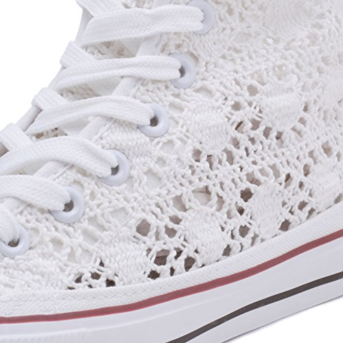 Donna Bianco MForshop Zeppa da z9527 Para Bianca Sneakers Pizzo Ginnastica Casual Scarpe Alta 45x5w7UqR