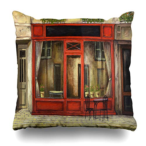 Awning Blue Paper (Ahawoso Throw Pillow Cover Pictorial Restaurant Oil Parisian Cafe in Window Vintage Coffee Painting Mart Awning House Design Decorative Pillowcase Square Size 18