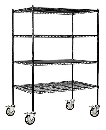 Salsbury Industries Mobile Wire Shelving Unit, 48-Inch Wide by 69-Inch High by 24-Inch Deep, Black