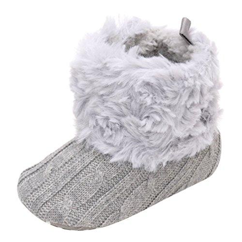 CHENGYANG Babyschuhe Mädchen Neugeborene Weiche Rutschfest Stiefel Warm Schneestiefel Winterstiefel Licht Grau#13