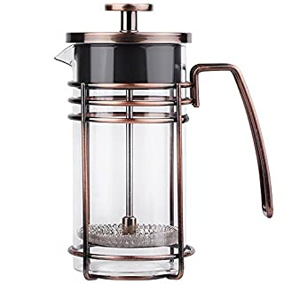 ZaKura French Press Coffee Maker, Tea Maker, Stainless Steel Filter, 12 Ounce/0.35 Liter, Copper
