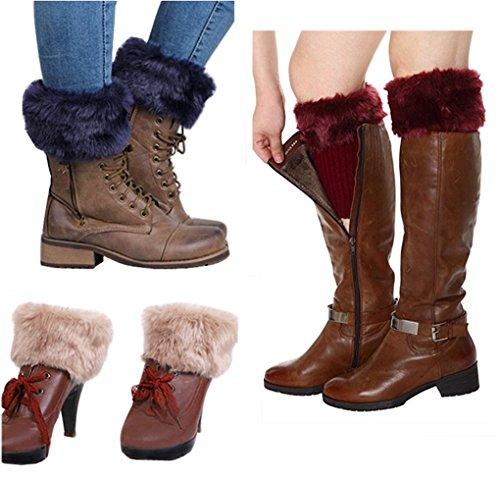 Women Winter Faux Fur Boot Cuffs Cover Crochet Knitting Short Leg Warmers 3 Pack (B)]()