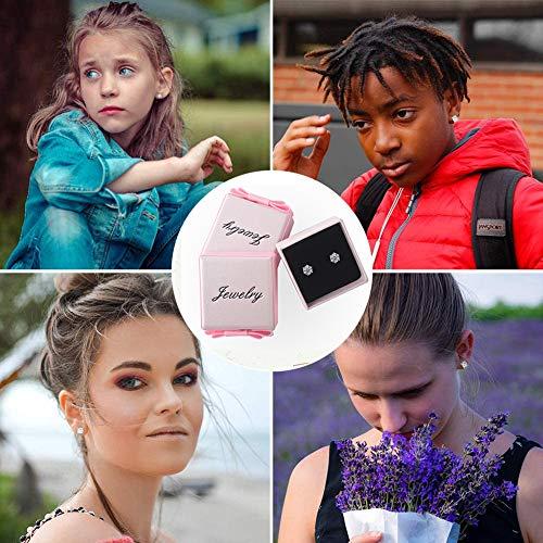 DOMEI Sterling Silver Stud Earrings Cubic Zirconia, Hypoallergenic Diamond Stud Earrings, Cubic Zirconia Earrings Studs for Women(Rose gold)