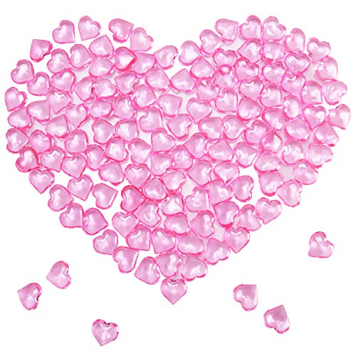 Mayam 150 Pieces Acrylic Hearts for Valentines Day Heart Ornaments Wedding, Party Vase Fillers Table Scatter Decoration (Pink)